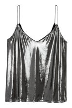 V-neck strappy top - Silver - Ladies | H&M CN 2