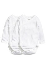 2-pack long-sleeved bodysuits - White - Kids | H&M 1