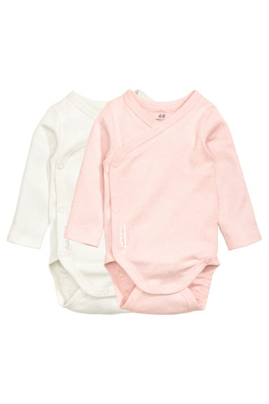 2-pack long-sleeved bodysuits - Light pink/Spotted - Kids | H&M