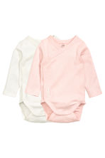 2-pack long-sleeved bodysuits - Light pink/Spotted - Kids | H&M 1