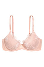 Padded underwired lace bra - Powder pink - Ladies | H&M CN 2