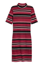 Ribbed jersey dress - Dark red/Striped - Ladies | H&M CN 2