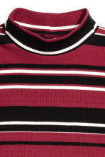 Ribbed jersey dress - Dark red/Striped - Ladies | H&M CN 3