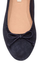Suede ballet pumps - Dark blue - Kids | H&M CN 4