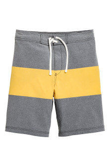 Block-patterned swim shorts