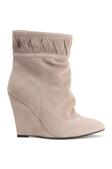 Suede wedge-heel boots