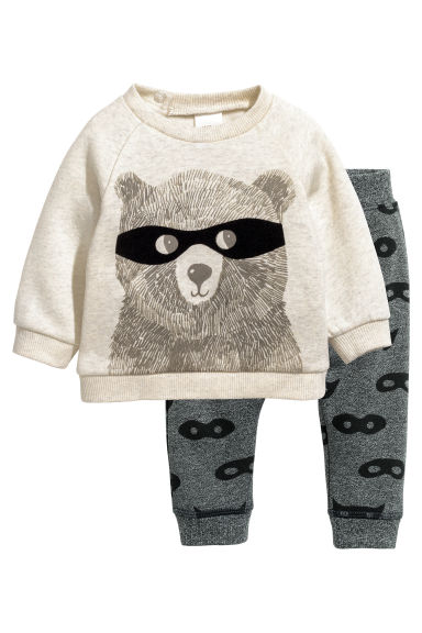 Sweatshirt and trousers - Light beige marl - Kids | H&M CN 1