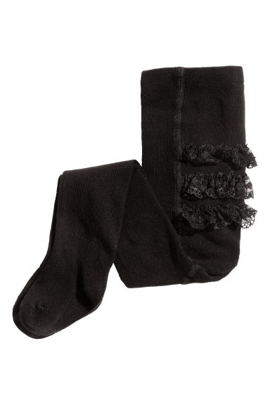 Tights with lace frills - Black -  | H&M CN 1