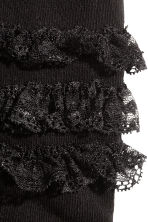 Tights with lace frills - Black -  | H&M CN 2