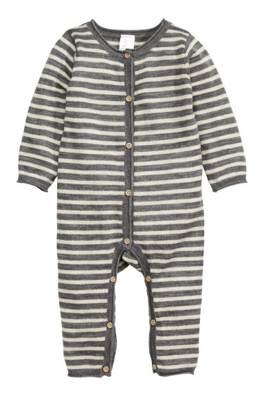Fine-knit wool romper suit - Grey/Striped - Kids | H&M CN 1