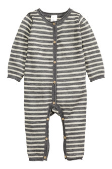 Fine-knit wool romper suit
