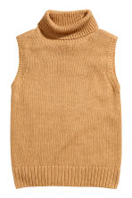 Sleeveless polo-neck jumper - Beige - Ladies | H&M CN 2