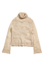 Chunky-knit polo-neck jumper - Light beige - Ladies | H&M GB 2