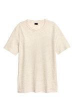 T-shirt in a linen blend - Light beige marl - Men | H&M CN 2
