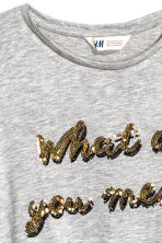Sequined jersey top - Grey/Justin Bieber - Kids | H&M CN 3