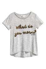 Sequined jersey top - Grey/Justin Bieber - Kids | H&M CN 2