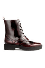 Brogue-patterned boots - Burgundy - Ladies | H&M CN 2