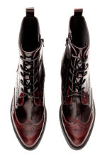 Brogue-patterned boots - Burgundy - Ladies | H&M CN 3