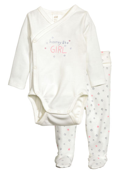 Bodysuit and trousers - White/Pink - Kids | H&M CN 1
