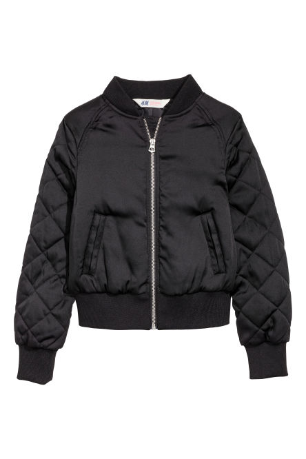 Quilt-sleeved bomber jacket