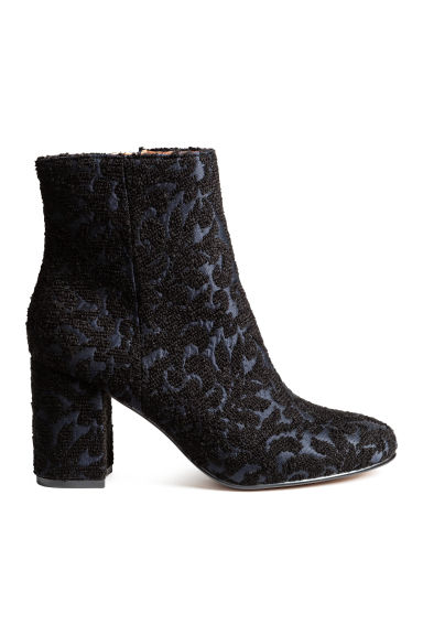 Embroidered boots - Black/Dark blue -  | H&M CN