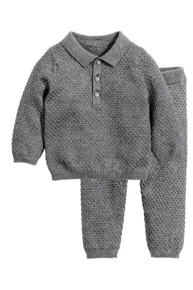 Knitted jumper and trousers - Dark grey marl -  | H&M CN 1