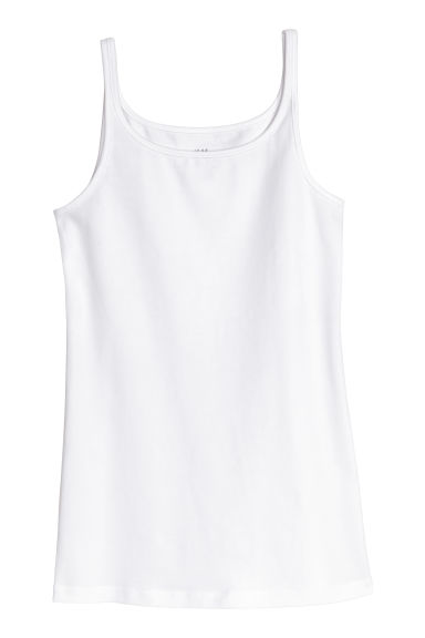 Jersey vest top - White -  | H&M CN 1