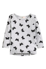 Printed jersey top - Grey/Butterflies - Kids | H&M CN 2