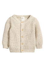 Ribbed cardigan - Light beige - Kids | H&M CN 1