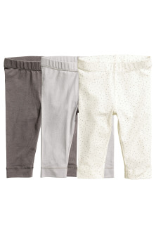 3 leggings en coton pima