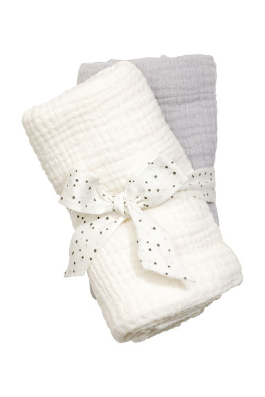 2-pack muslin squares - White -  | H&M CN 1