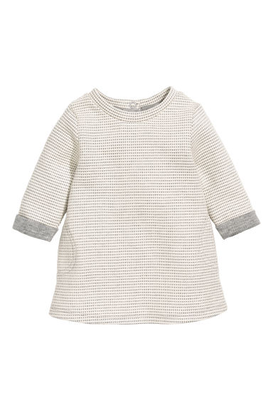 Textured dress - Natural white/Grey - Kids | H&M CN