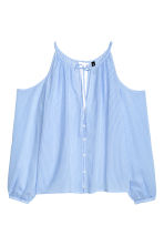 Cold shoulder blouse - Light blue/Stripe - Ladies | H&M CN 2