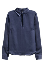 Long-sleeved blouse - Dark blue - Ladies | H&M CN 2