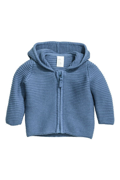 Hooded cotton cardigan - Blue - Kids | H&M CN