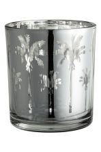 Glass tealight holder - Silver/Palms - Home All | H&M CN 1
