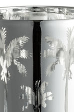 Glass tealight holder - Silver/Palms - Home All | H&M CN 2