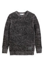 Knitted jumper - Black marl -  | H&M CN 2