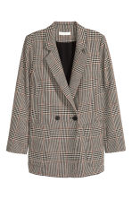 Double-breasted jacket - Light beige/Dogtooth - Ladies | H&M GB 2