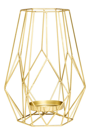 Large metal candlestick - Gold - Home All | H&M CN