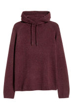 Wool-blend hooded jumper - Burgundy marl - Men | H&M CN 2