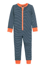 Jersey all-in-one pyjamas - Dark blue/Striped - Kids | H&M CN 1