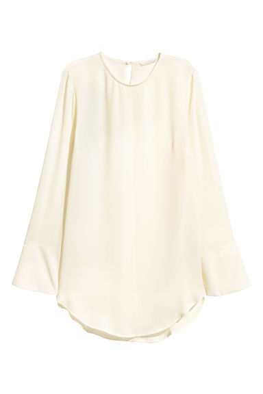 Long-sleeved blouse - Natural white - Ladies | H&M CN 1
