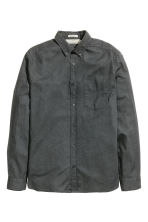 Linen-blend shirt Regular fit - Dark grey - Men | H&M CN 1