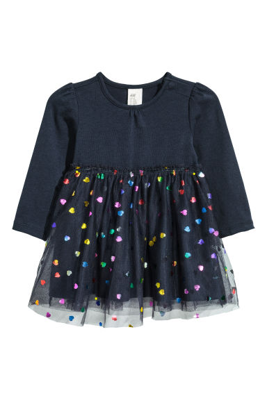 Dress with a tulle skirt - Dark blue/Heart - Kids | H&M CN 1