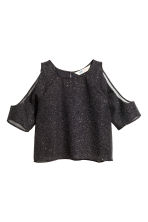 Glittery cold shoulder top - Black/Glitter - Kids | H&M CN 2