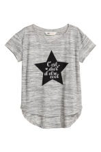 Printed jersey top - Grey marl/Star - Kids | H&M CN 2