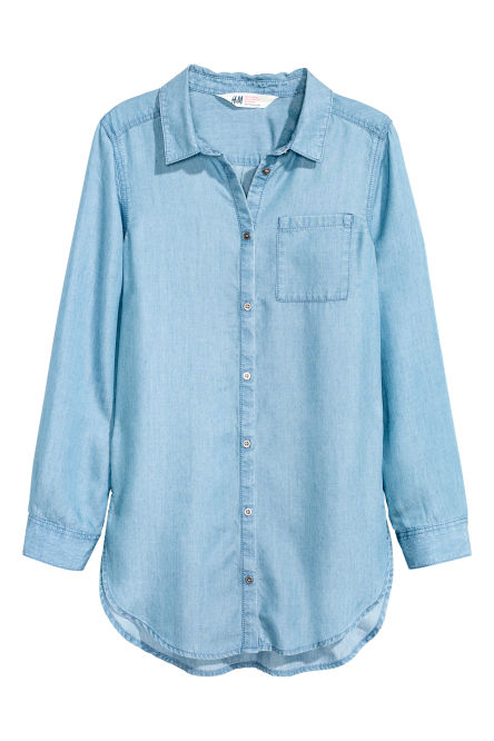 Denim shirt in lyocell