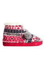 Knitted slippers - Red - Ladies | H&M CN 1