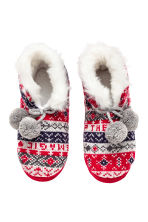 Knitted slippers - Red - Ladies | H&M CN 2